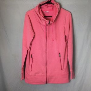 Columbia Pink Hoodie Zipper Pockets and Cowl Neck
